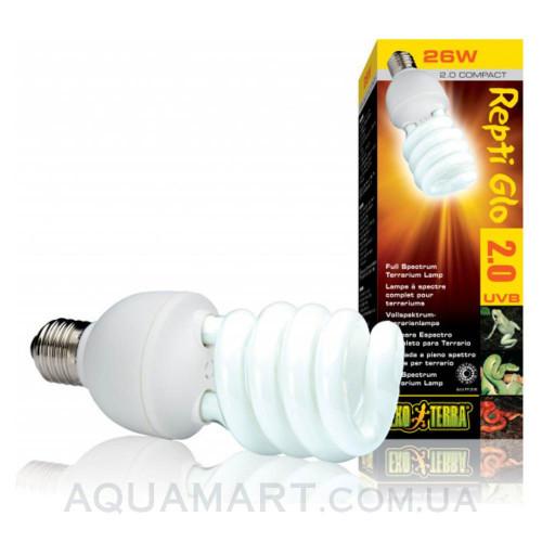 Лампа для террариума с полным спектром ExoTerra Repti Glo 2.0 Compact 13W (Hagen РТ 2190)
